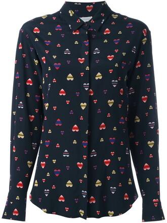 shirt heart print blue top