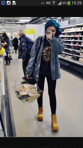 coat black grunge blue hair band cute dark punk jeans ripped jeans jacket shoes