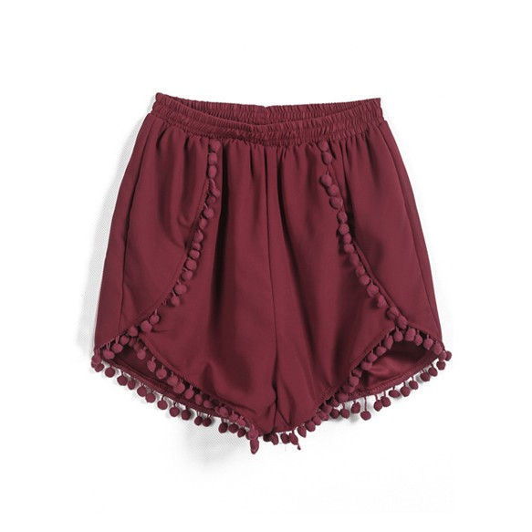 Chiffon Runner Shorts With Pompom Detail