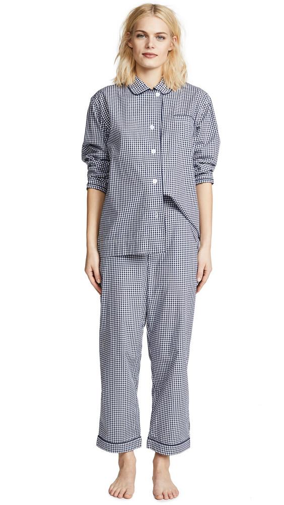 Sleepy Jones Large Gingham Bishop Pajama Set in navy