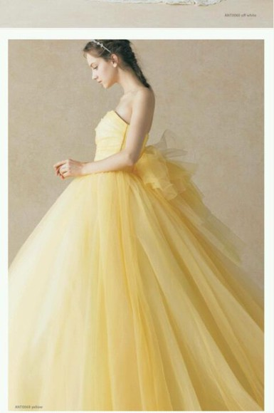 dress clothes: wedding wedding dress yellow dress prom dress yellow ribbon