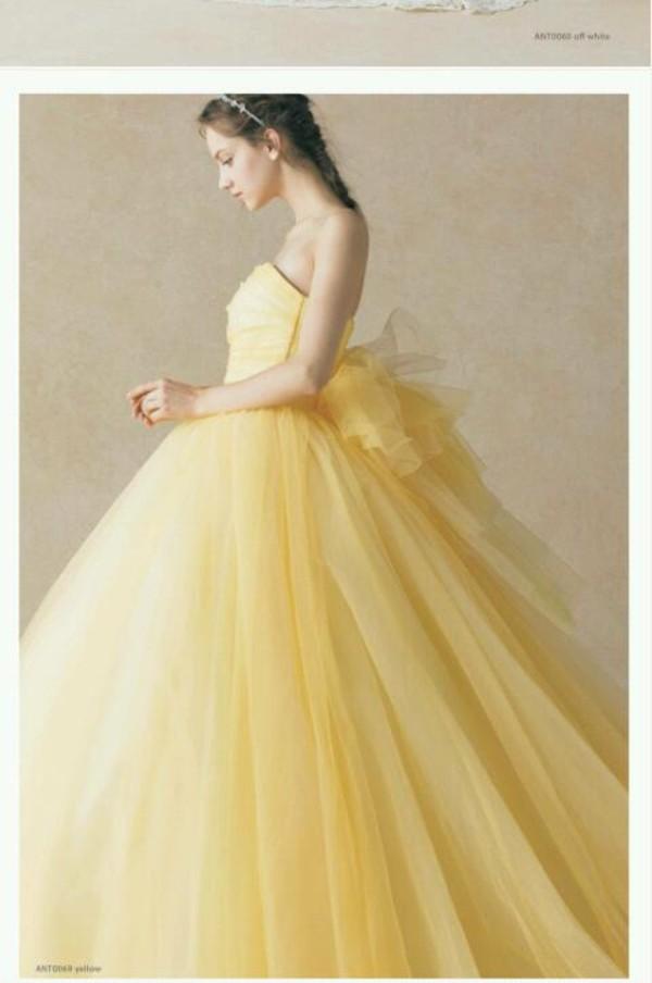 dress wedding clothes wedding dress yellow dress prom dress yellow ribbon