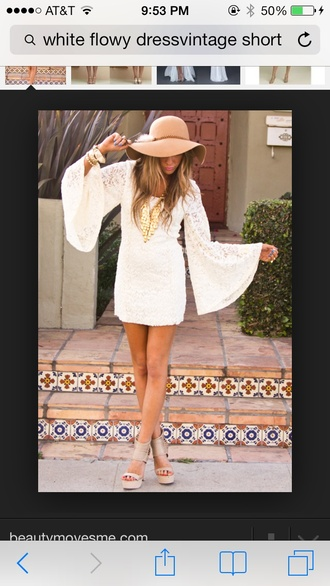 dress white white dress vintage tan hat hippie flower child flowy 70s style cute summer chic hot bodycon