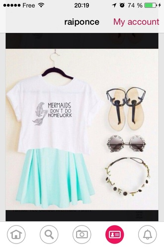 t-shirt mermaid don't don't grow up trap white t-shirt white green blue blue skirt green skirt cool beautifull pinky blue light shoes simmer summer skirt flowers mint green skirt sunglasses hair accessory simmer wear summer top