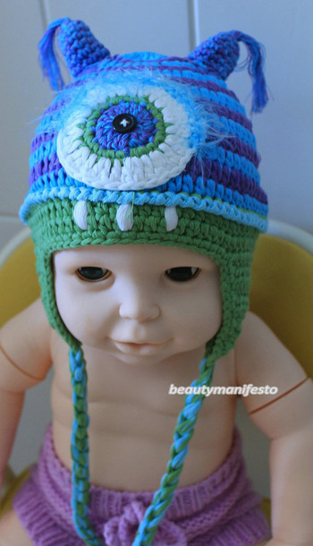 crochet baby one eye hat character hats mean alien hat beanie monster hat  alien hat crochet 822a40492eb