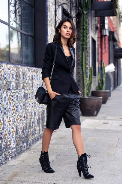 viva luxury blogger leather shorts black boots blazer boyish non-binary