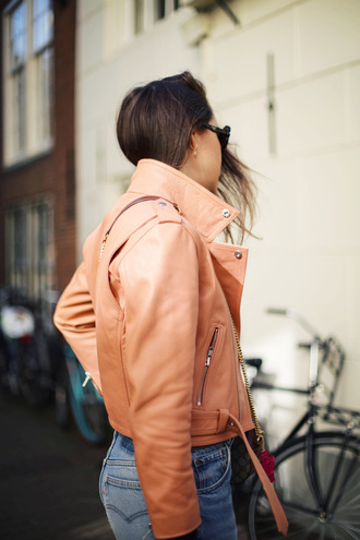 style scrapbook blogger peach leather jacket spring jacket leather levi's