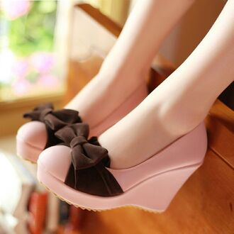 shoes wedges pink cute shoes cute high heels rose pastel brown black sweet girly kstyle korean fashion japanese playful ribbon korean style lolita bow pink shoes bow shoes pretty shoes brown bow lolita wedges lovely cute wedges pink wedges