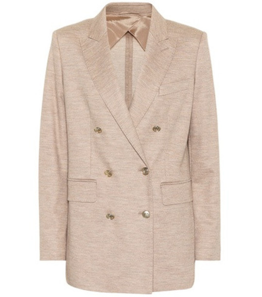 Max Mara Dacia wool and cotton blazer in beige / beige