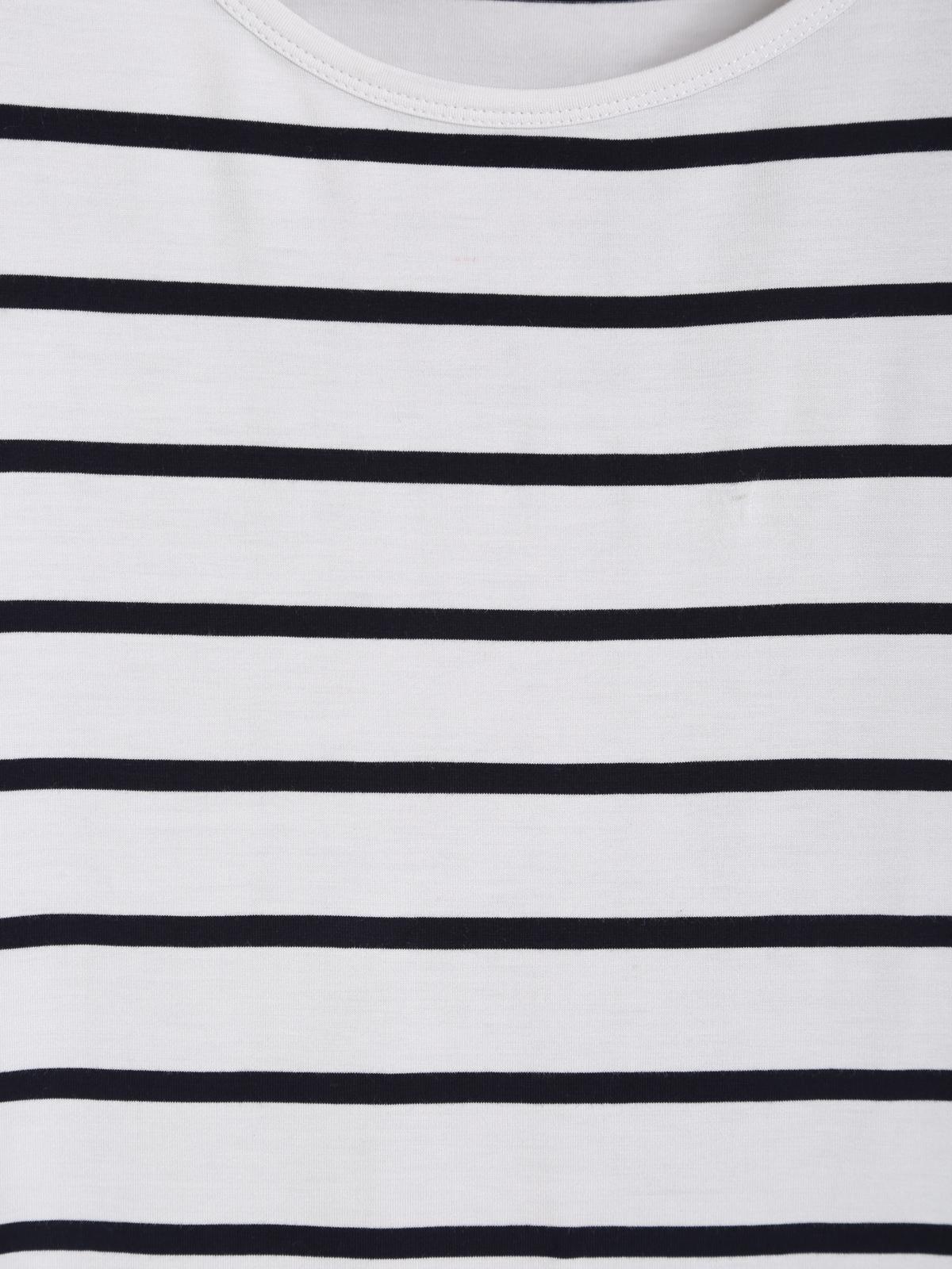 Navy White Short Sleeve Stripe Oversized Tee - Sheinside.com