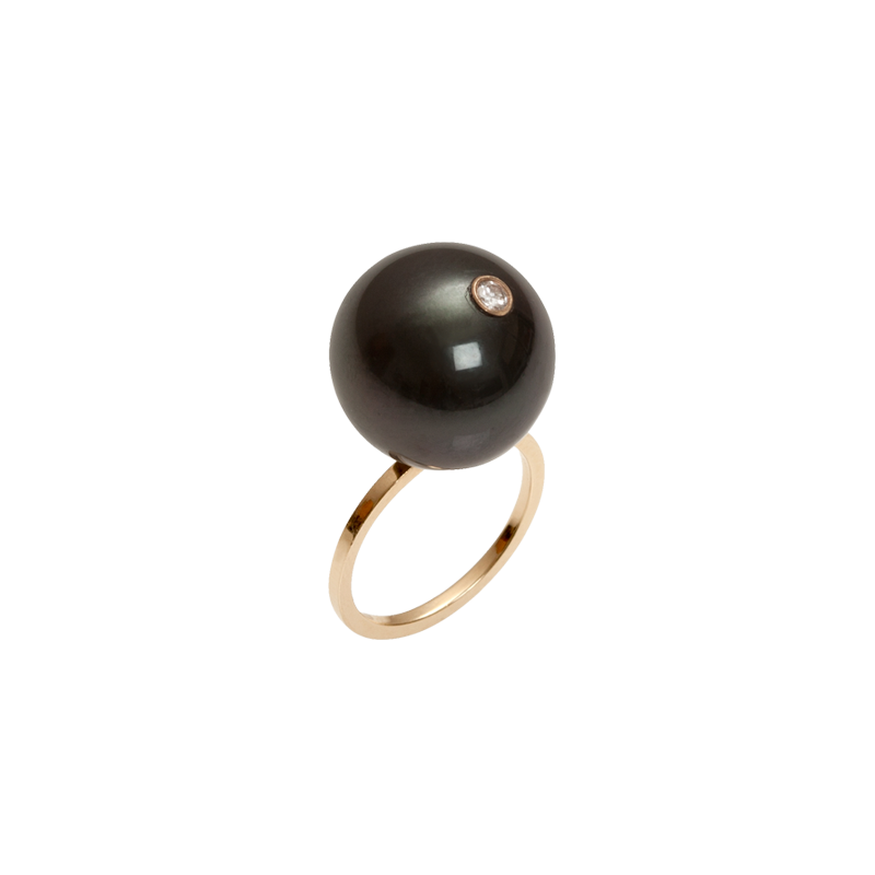 XL Gray South Sea Pearl Ring with Diamond - Fingers - Fine Jewelry