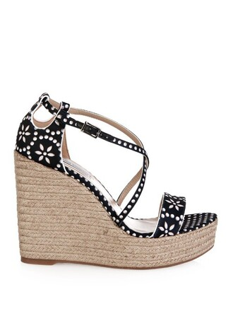 wedges floral print white black shoes