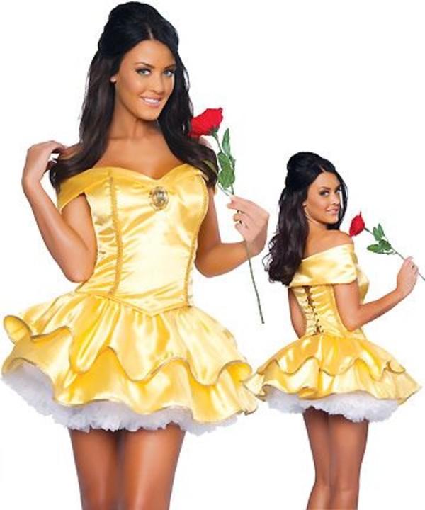 dress yellow yellow dress skirt white lace skirt red rose disney princess costume hello fashion princess dress fairy tale fairy diamonds