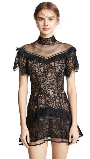 Jonathan Simkhai Mixed Lace Mockneck Minidress in black
