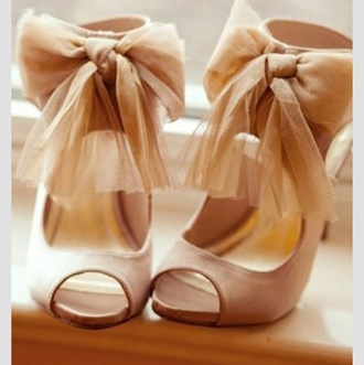 shoes bows nude heels with bows peep toe peep toe heels nude high heels wedding shoes chiffon