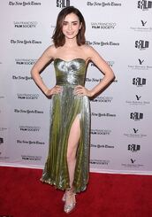 dress,slit dress,metallic,gown,sandals,prom dress,strapless,bustier dress,lily collins,shoes,metalic shoes