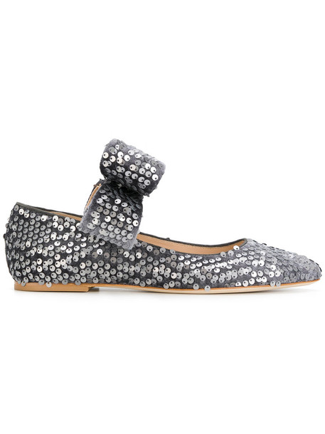 Polly Plume bow women leather velvet grey shoes