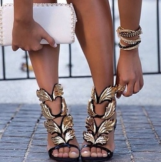 shoes high heels gold black feathers