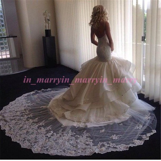 Dress mermaid wedding dress backless wedding dress lace for Princess mermaid wedding dresses