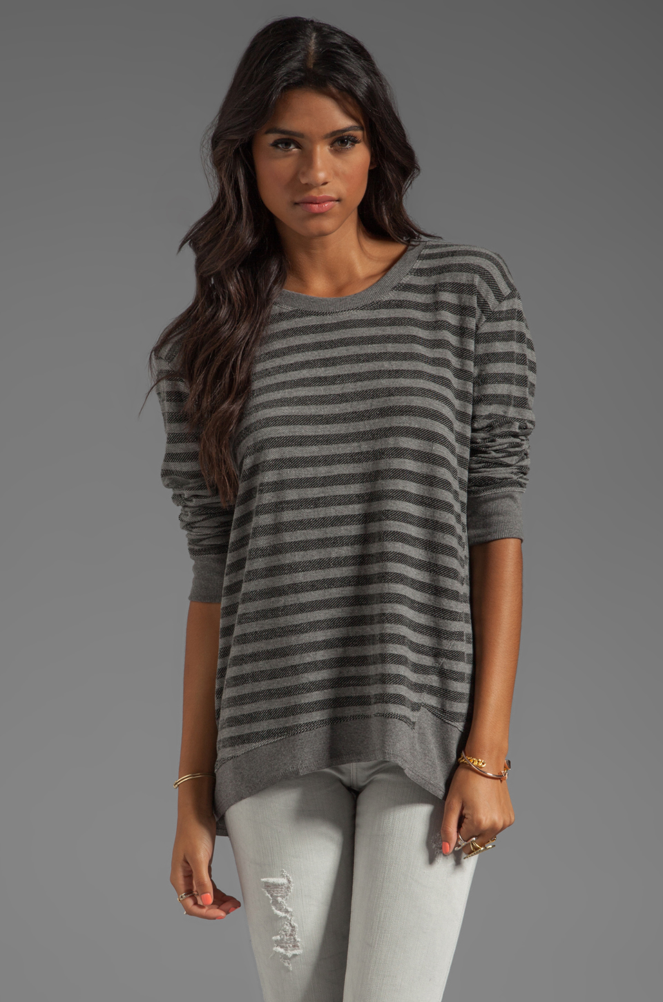 Wilt Stripe Back Slant Sweatshirt in Charcoal & Black | REVOLVE
