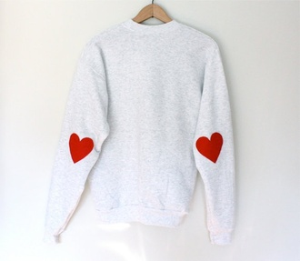 sweater patch knitwear grey sweater heart elbow patches asos etsy
