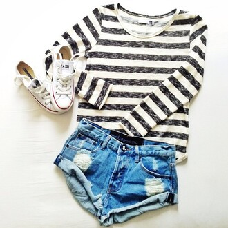 shirt shorts blouse jeans chuck taylor all stars black and white blouse black white striped shirt black and white black and white stripes t-shirt top striped top style sailor top shorts converse shoes long sleeves striped ahirt stiped top long sleeved tumblr outfit tumblr top