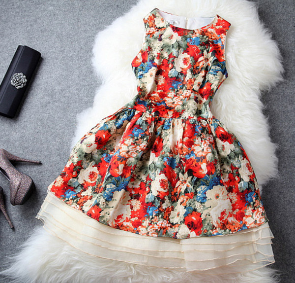 dress floral print short orange blue red white party dress