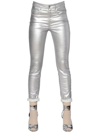 jeans metallic fit cotton silver