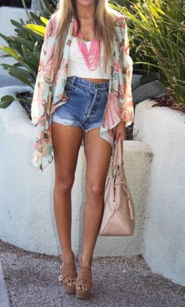 tank top bag blouse jewels shorts coat