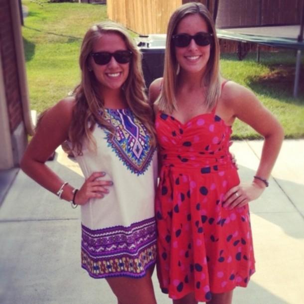 dress shift dress red polka dot dress tribal print dress