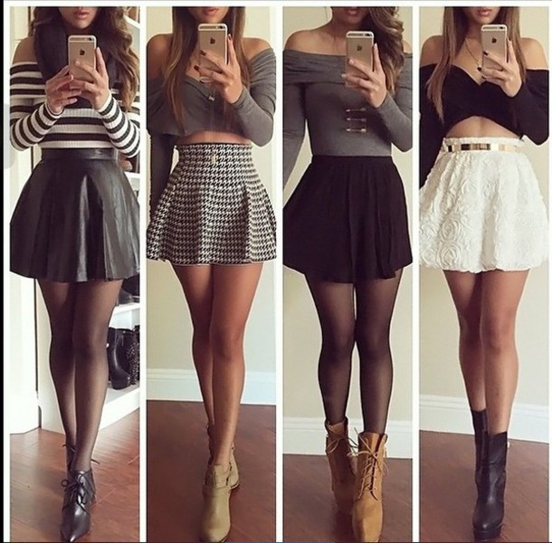 top grey shirt skirt tumblr crop skirts and tops crop tops summer dress spring pretty girly shirt shoes dress styles fashion plaid skirt skater skirt mini skirt black skirt heels black crop tops stripes