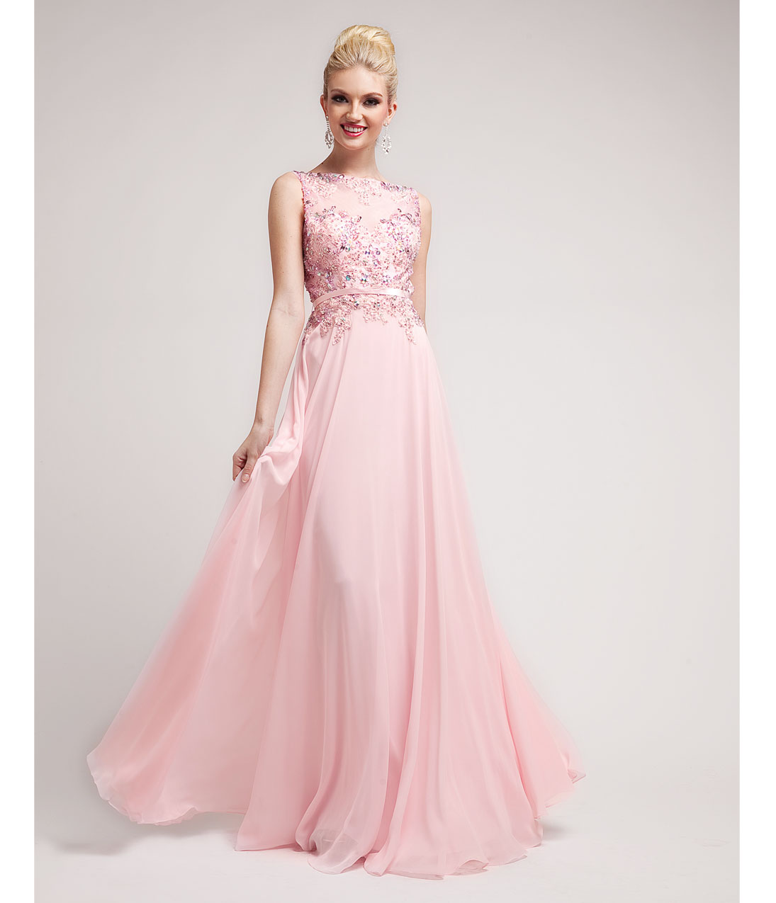 2014 prom dresses baby pink beaded lace chiffon gown for Pink homecoming dresses