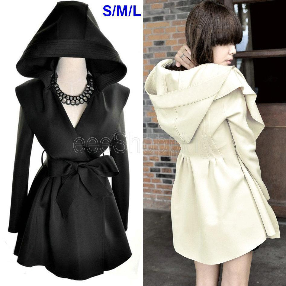 Q405 New Fashion Women Ladies Large Lapel Hooded Hoodie Tunic Belt Bow Spring Autumn Thin Tunic Outerwear Trench Coat Hip Long-in Trench from Apparel & Accessories on Aliexpress.com