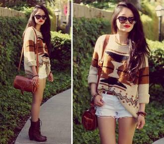 sweater ethnic shorts