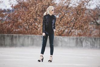happily grey blogger jacket top sandals black jacket cropped pants sequin jacket