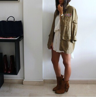 style by nelli blogger dress army green jacket suede boots