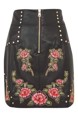 skirt mini skirt mini studded embroidered black