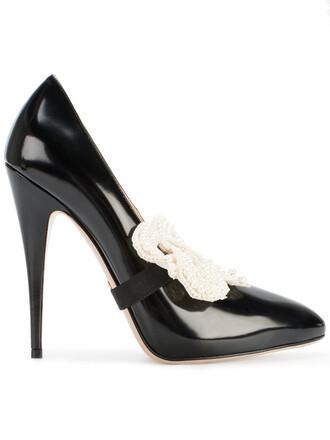 bow women pumps leather black shoes