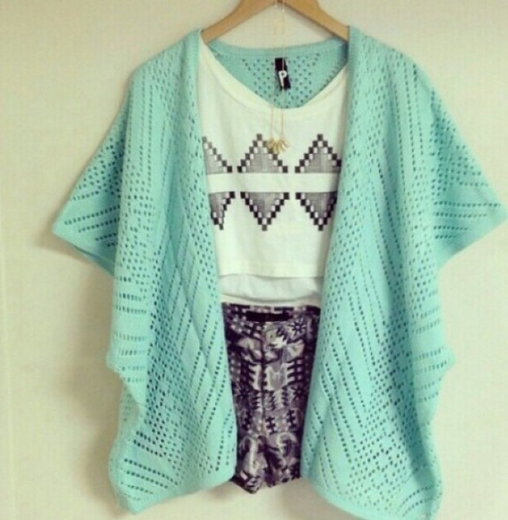 shorts top crop tops summer outfits hipster beach clothes boho girly cute cardigan jewels