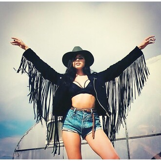 jacket nastygal wild west western vegan suede fringes festival 36683 coachella
