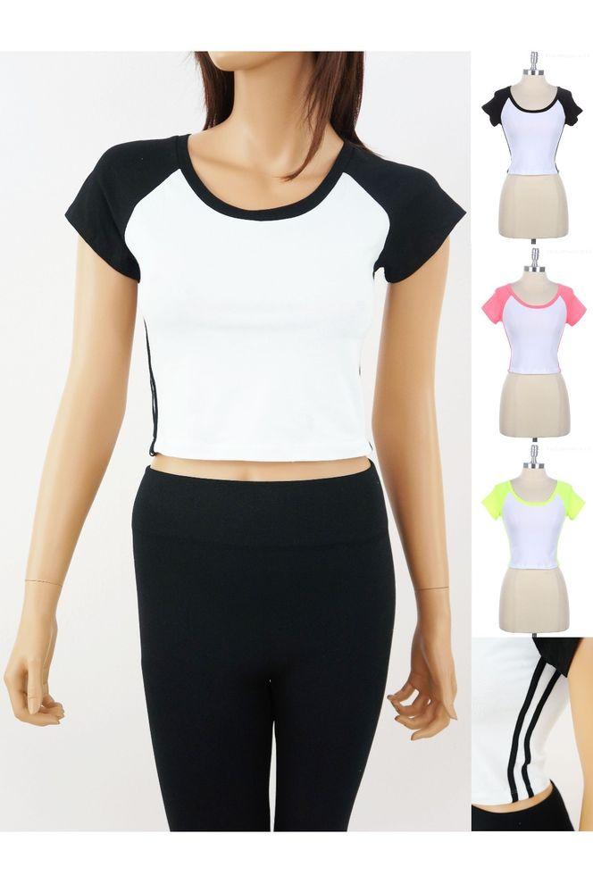 Sporty Baseball Reglan Crop Top T Shirt Side Stripe Black Coral Yellow s M L | eBay