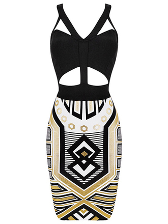 dress bandage dress geometric cut-out dress print