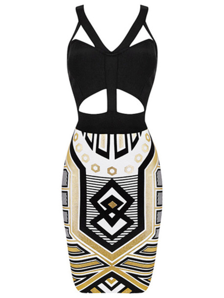 dress bandage dress geometric cut-out dress print