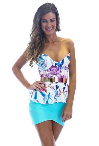 shirt floral multi colored strapless peplum top