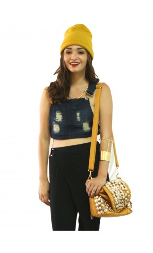 SCHOOLS OUT OVERALL CROP TOP | WOMEN'S CROP TOPS AND TEES | MUSTARDCARTEL.COM