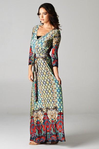Dress: boho, boho dress, long sleeves, paisley, moroccan ...