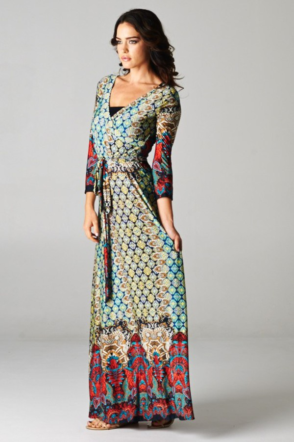boho boho dress long sleeves paisley moroccan moroccan dress pretty shiny morrocan style moroccan pattern moroccan print maxi dress
