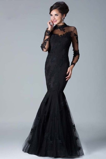 dress black lace mermaid tail