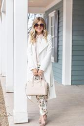 suburban faux-pas,blogger,coat,blouse,sunglasses,pants,shoes,bag,white coat,trench coat,givenchy bag,spring outfits