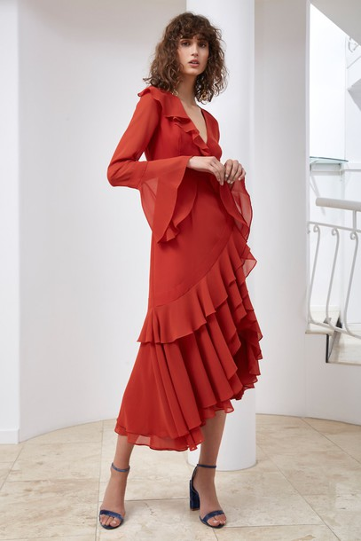 C/MEO COLLECTIVE dress long sleeve dress long red